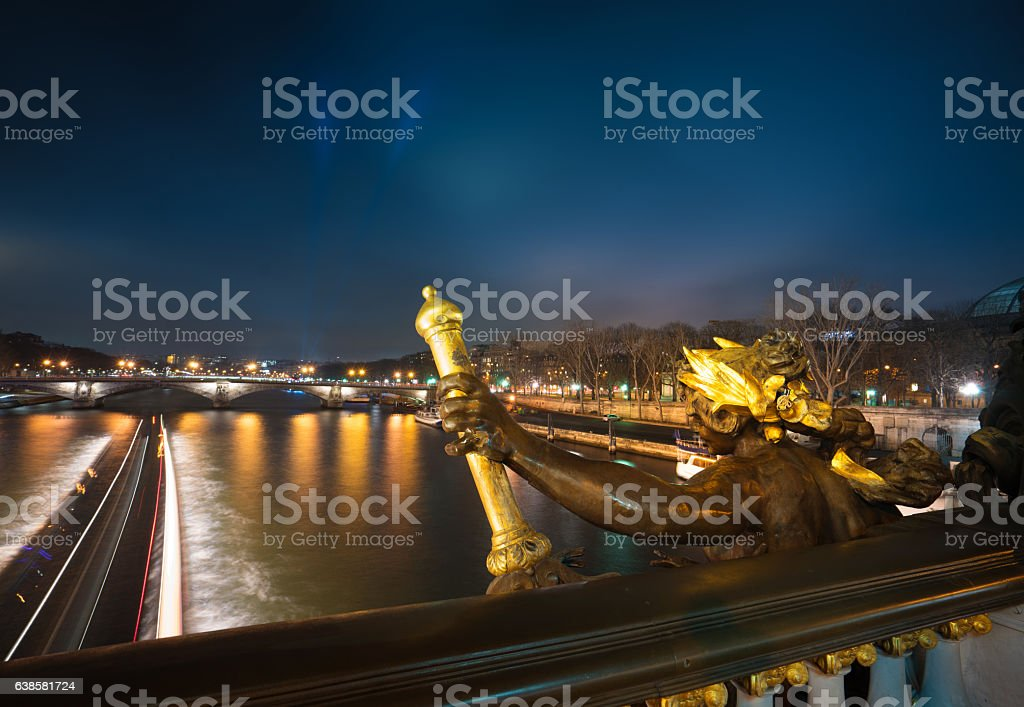 Pont Alexandre and river Seine stock photo