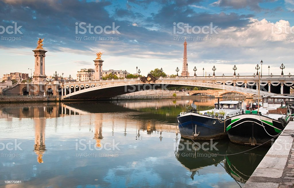 Pont Alexandre III and Eiffel Tower, Paris stock photo