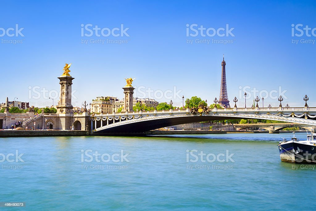 Pont Alexandre III and Eiffel Tower stock photo