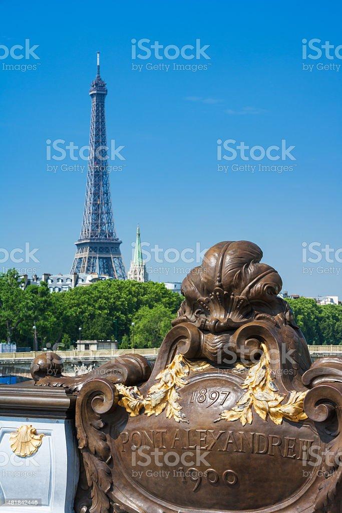 Pont Alexandre III bridge and Eiffel Tower, Paris, France royalty-free stock photo