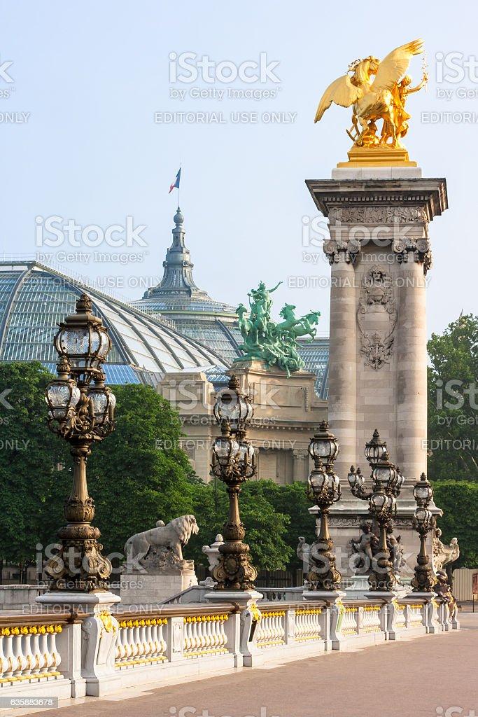Pont Alexandre III bridge (details) and Grand Palais. Paris, France stock photo