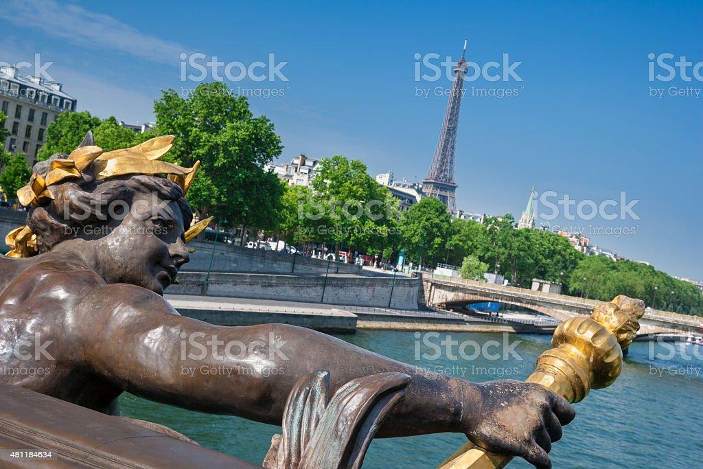 Pont Alexandre III Bridge & Eiffel Tower, Paris France royalty-free stock photo