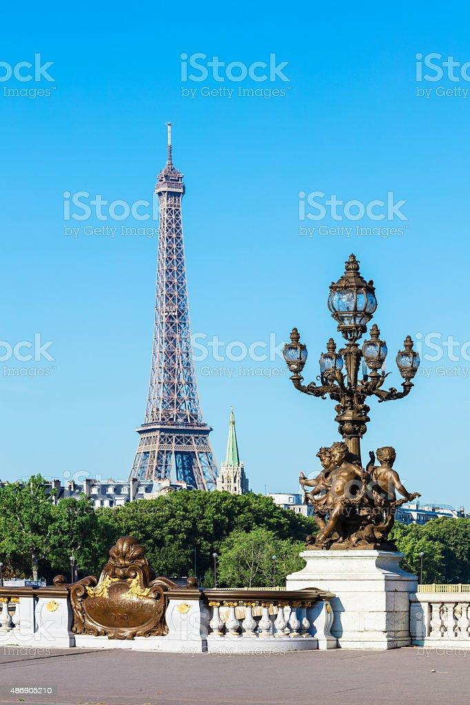 Pont Alexandre III Bridge (Lamp post details) & Eiffel Tower, Paris royalty-free stock photo