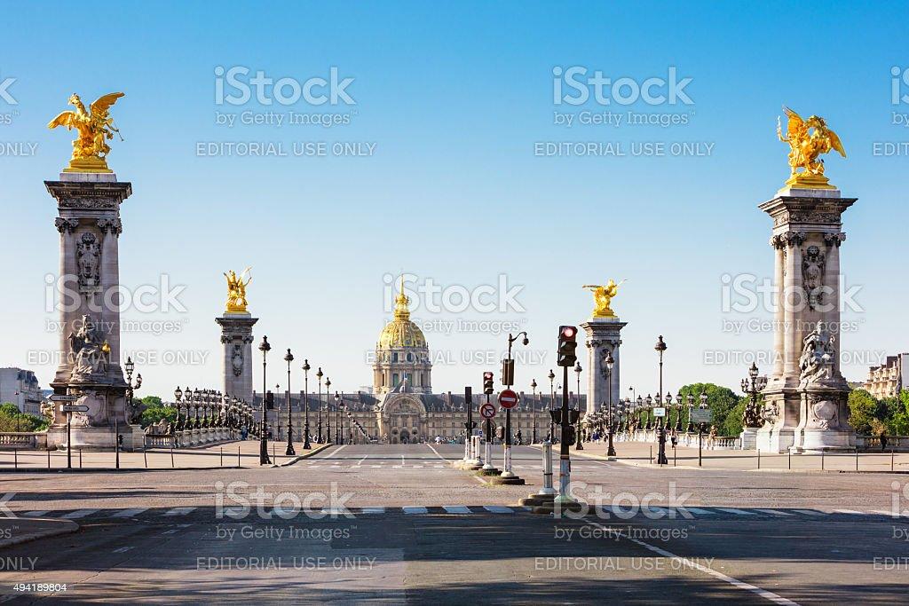 Pont Alexandre III Bridge & Hotel des Invalides, Paris, France royalty-free stock photo