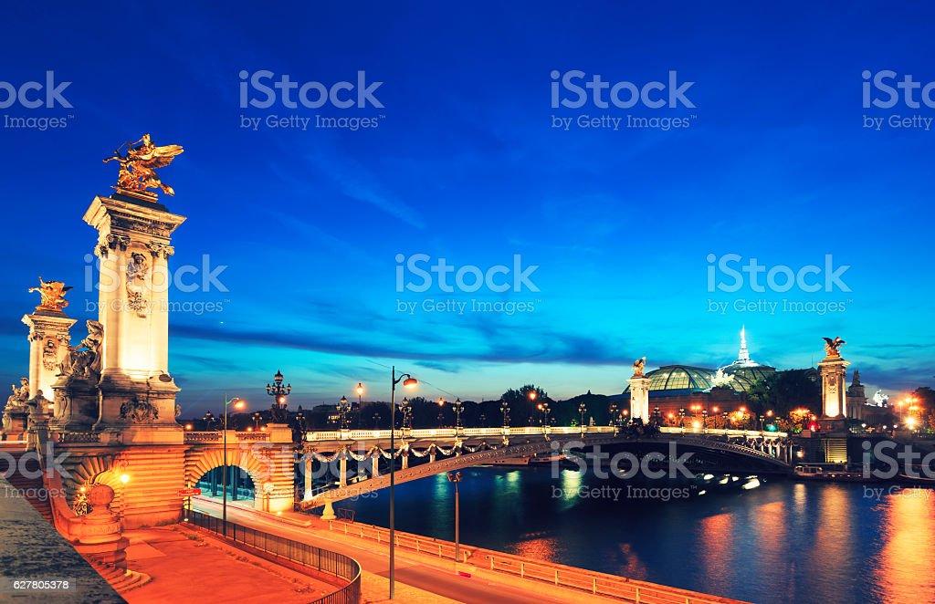 Pont Alexandre III bridge, Paris by night stock photo