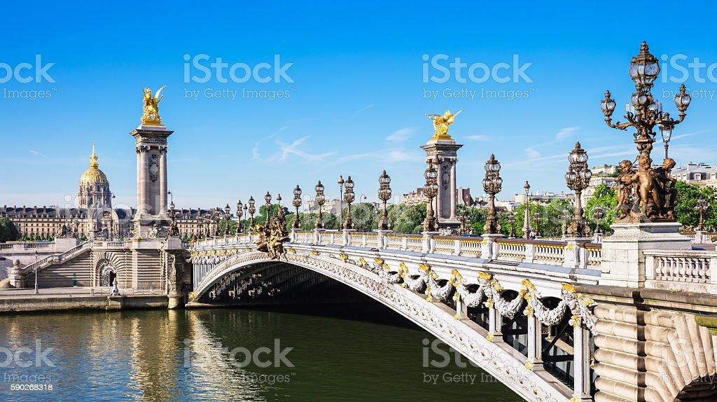 Pont Alexandre III Bridge with Hotel des Invalides, Paris royalty-free stock photo