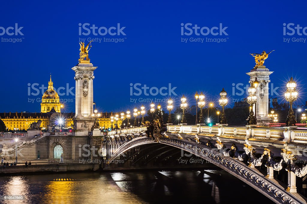 Pont Alexandre III bridge with night illumination, Paris, France stock photo