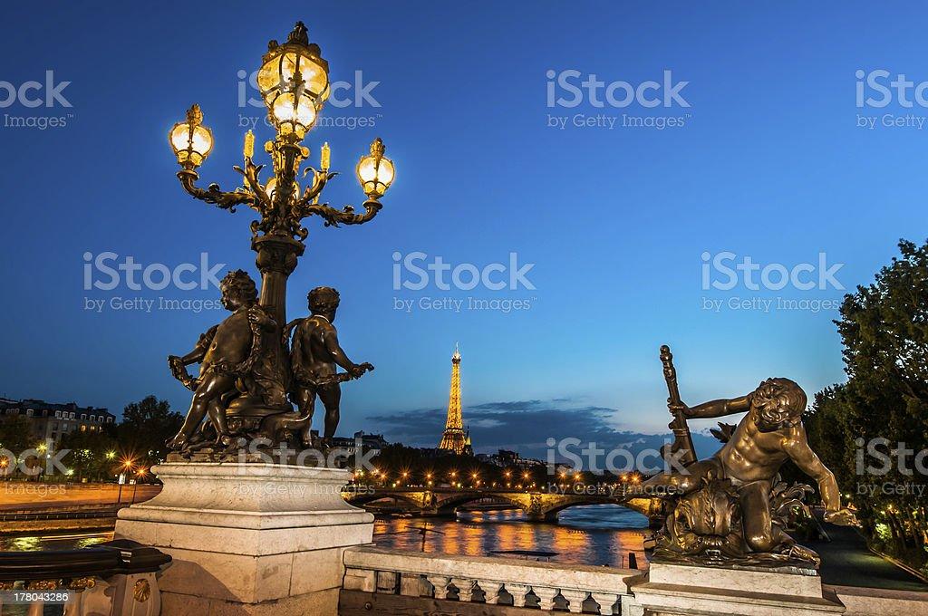 Pont Alexandre III  by night paris city France stock photo