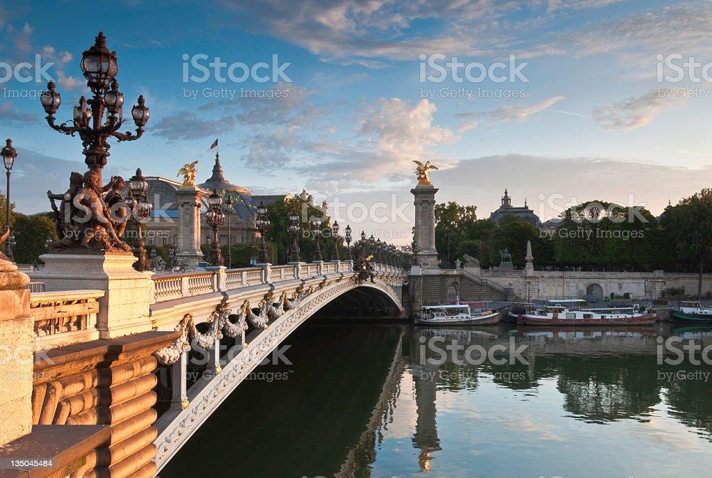 Pont Alexandre III, Grand Palais over the River Seine, Paris stock photo