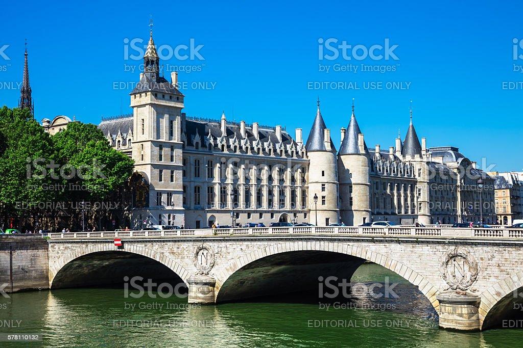 Pont au Change Bridge and Conciergerie Castle, Paris stock photo