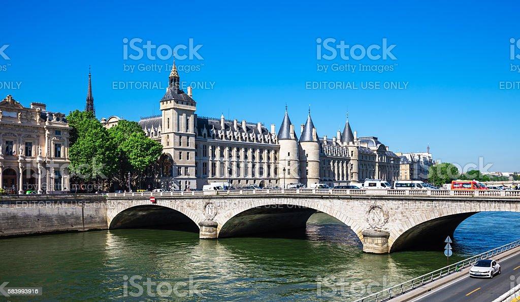Pont au Change Bridge and Conciergerie Castle, Paris royalty-free stock photo