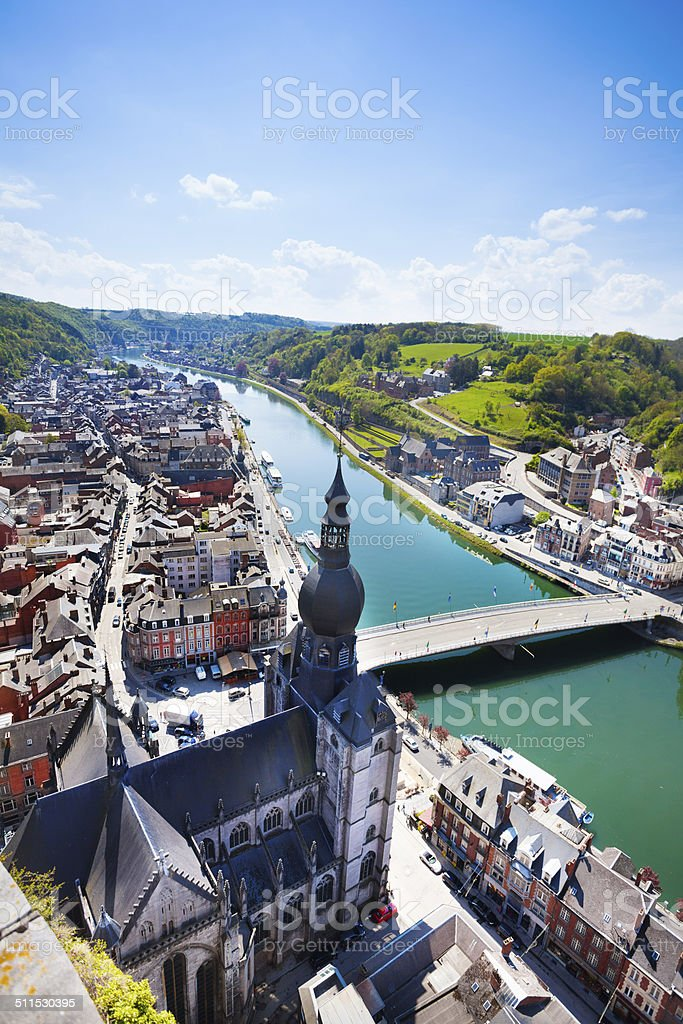Pont Charles de Gaulle bridge in Dinant view stock photo