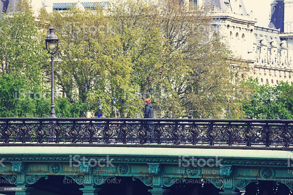 Pont d'Arcole in Paris France stock photo