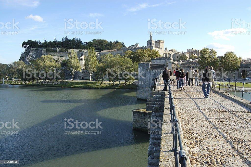 Pont d'Avignon and city stock photo