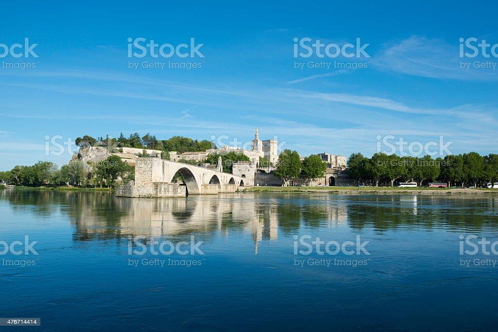Pont d'Avignon and Rhone River in Avignon, France stock photo