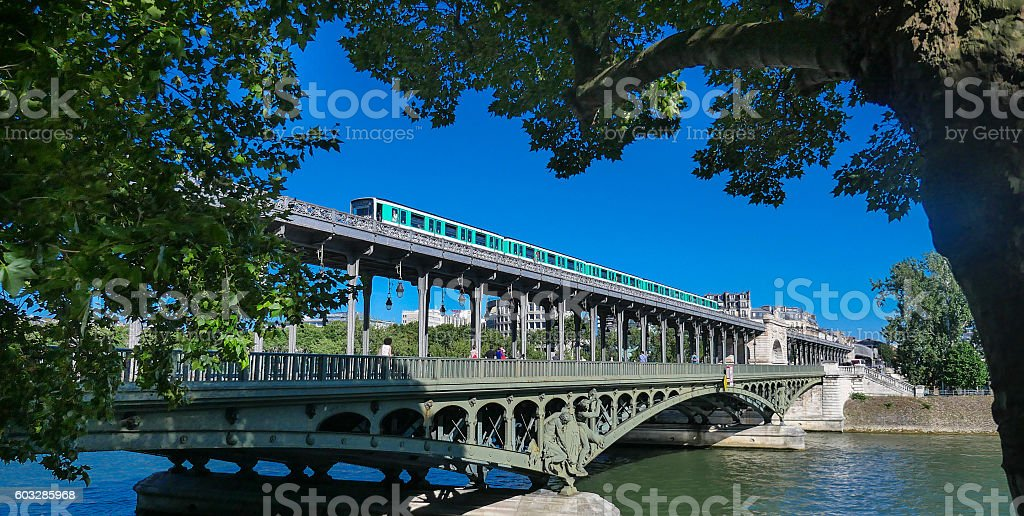 Pont de Bir Hakeim in Paris, France, bridge for Metro stock photo