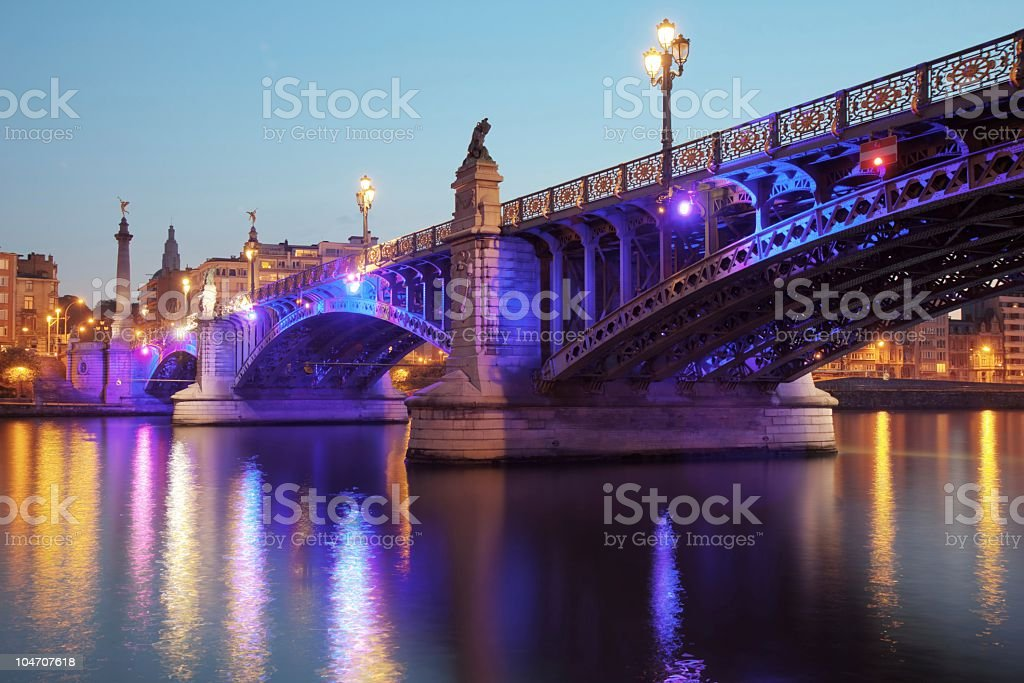 Pont de Fragnee at night royalty-free stock photo