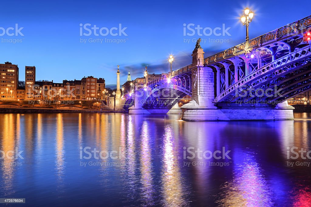 Pont de Fragnee by night, vert. stock photo