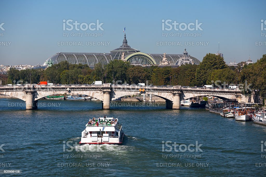 Pont de la Concorde and the Grand Palais stock photo