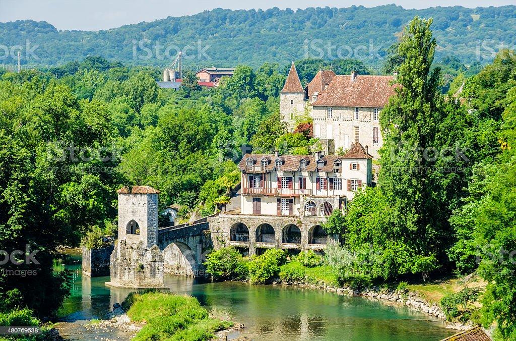 Pont de la Legende on the Gave d'Oloron, France stock photo