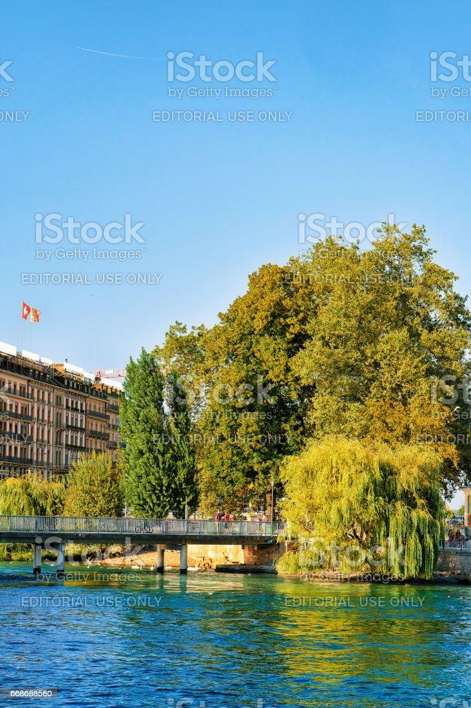 Pont de la Machine Bridge on Geneva Lake in summer stock photo