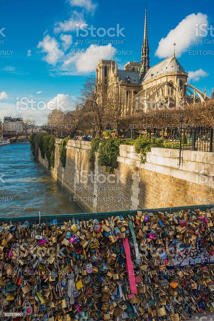 Pont de l'Archevêché with view to Notre Dame de Paris stock photo