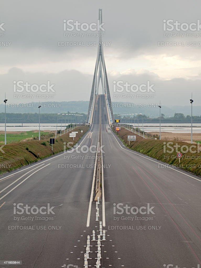 Pont de Normandie, Northern France. stock photo