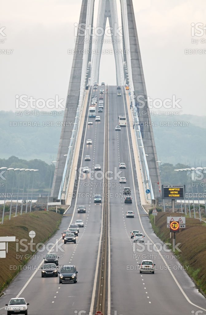 Pont de Normandie, Northern France stock photo
