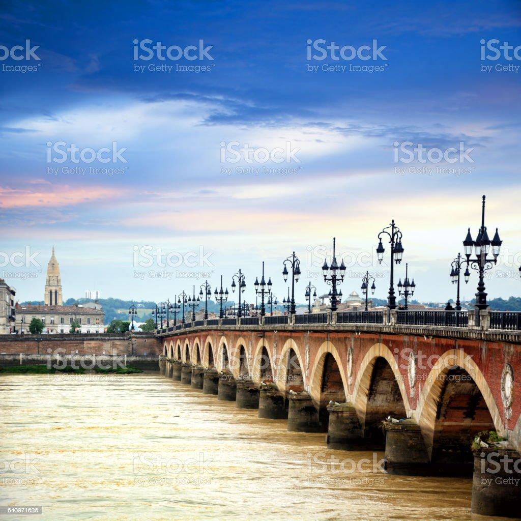 Pont de pierre, Bordeaux stock photo
