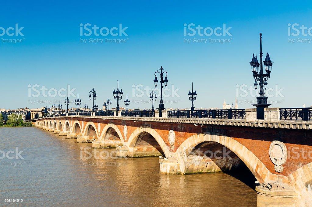 Pont de Pierre, Garonne River, Bordeaux, France stock photo