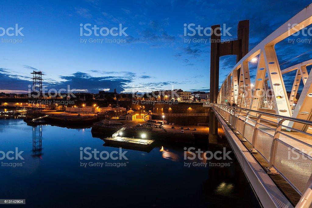 Pont de Recouvrance in Brest stock photo