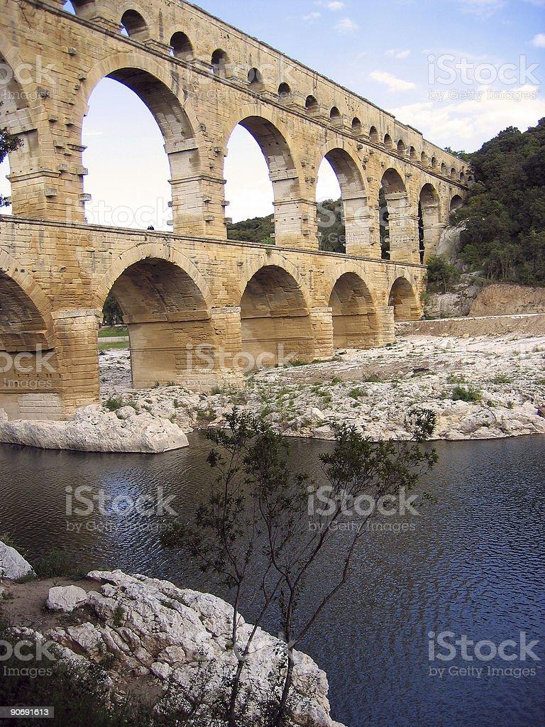 Pont du Gard aquaduct france royalty-free stock photo