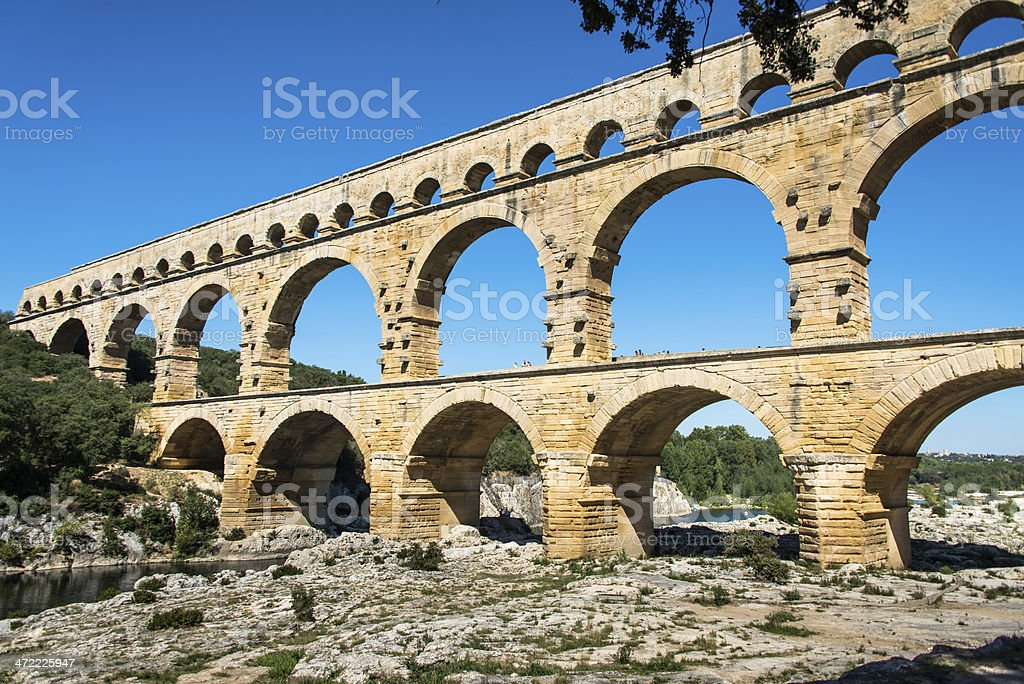 Pont du Gard aqueduct in southern France royalty-free stock photo