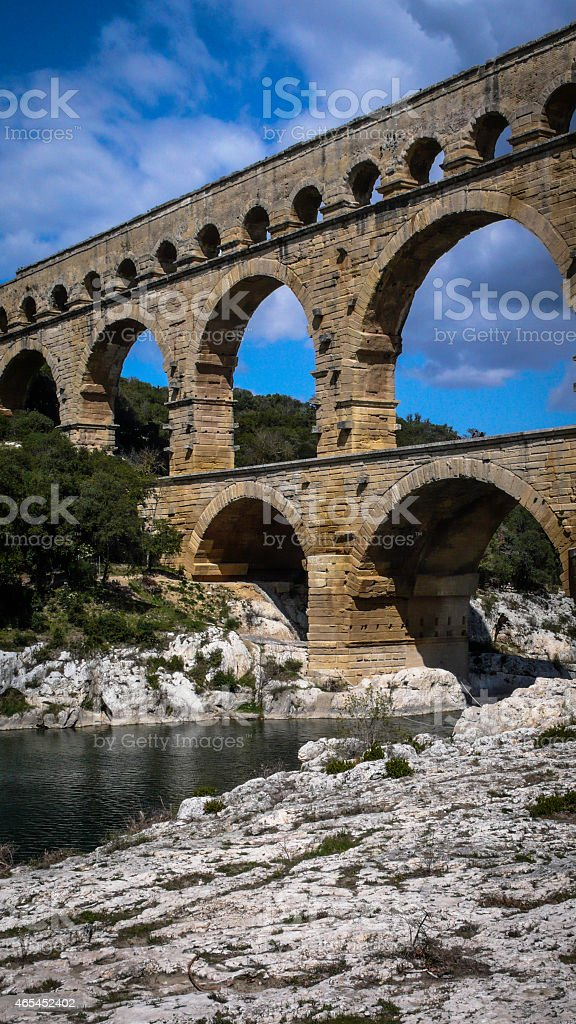 Pont Du Gard Aqueduct (Vertical) royalty-free stock photo
