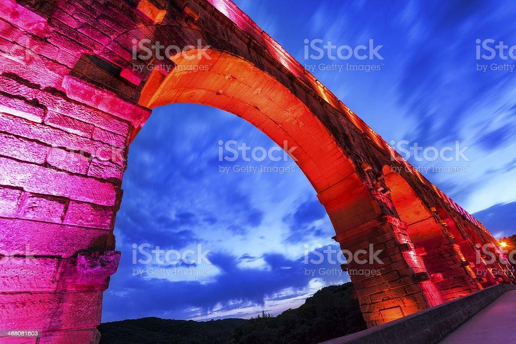 Pont du Gard at night stock photo
