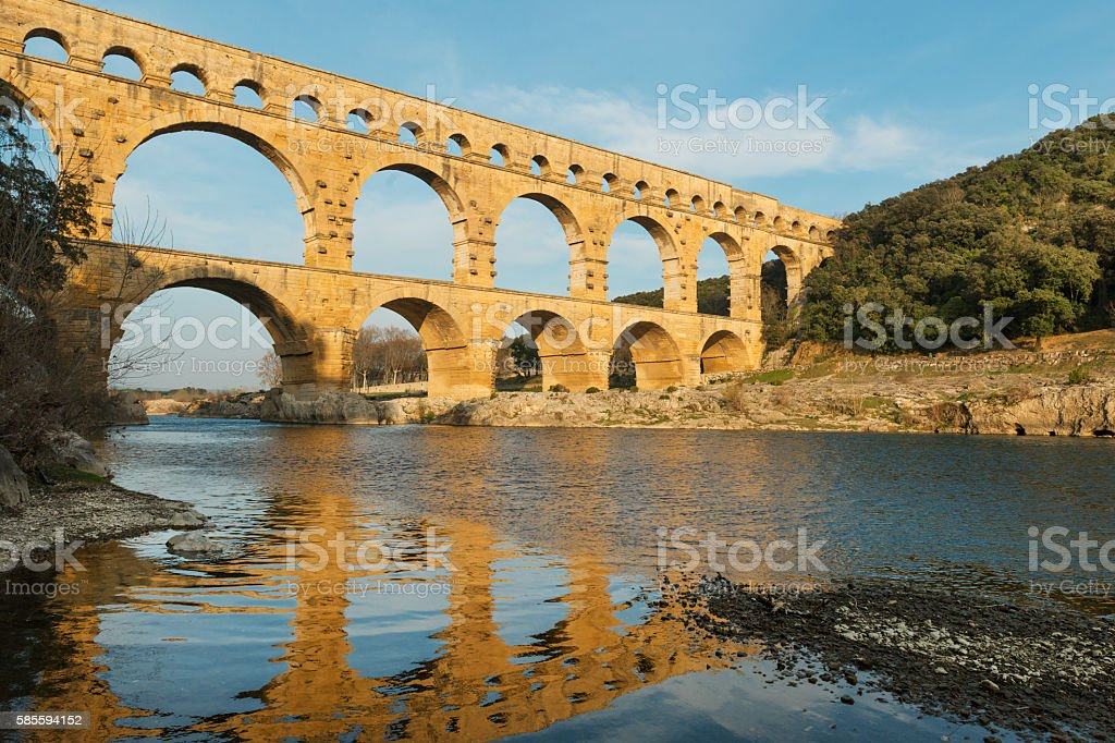 Pont Du Gard at sunset stock photo
