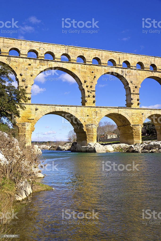 Pont Du Gard Bridge stock photo