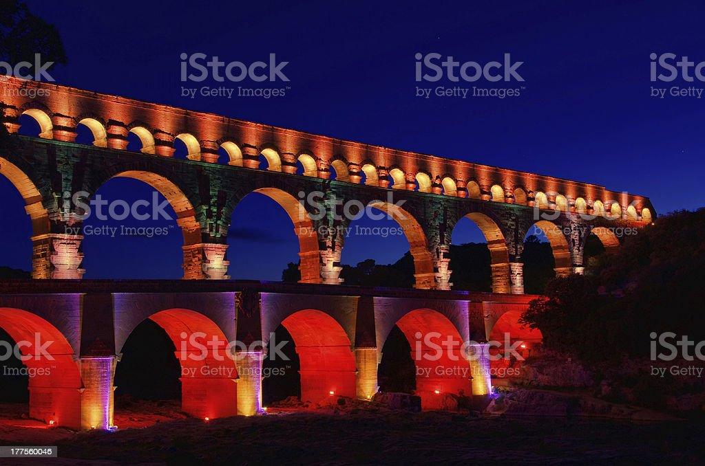Pont du Gard night stock photo