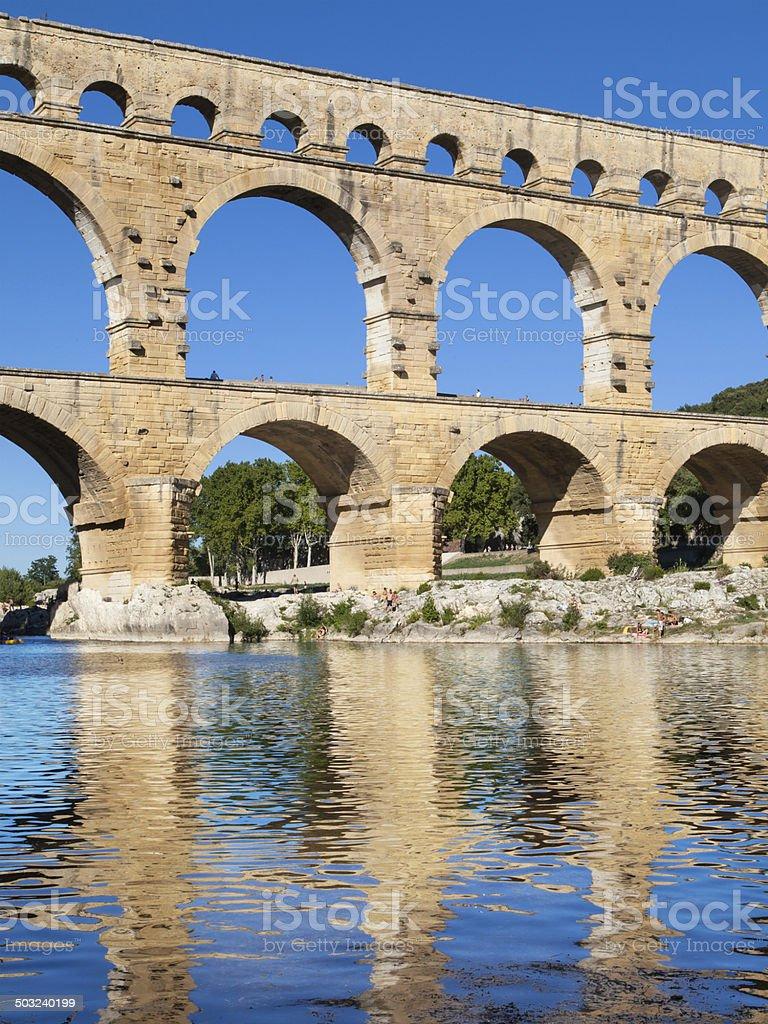 Pont du Gard reflected stock photo