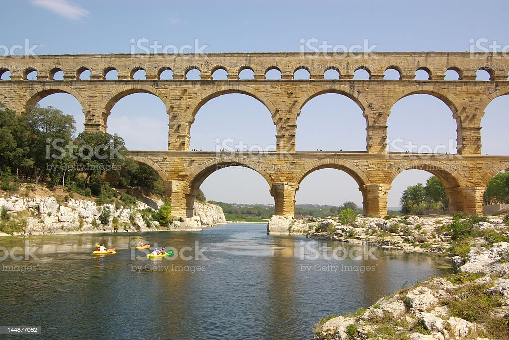 'Pont du Gard' river view royalty-free stock photo
