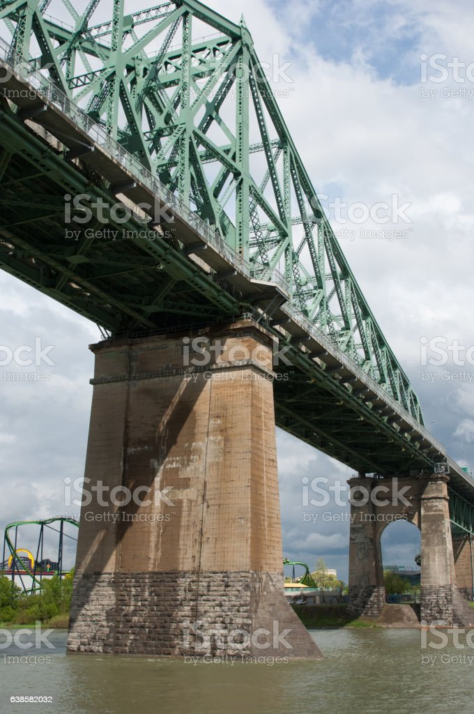 Pont Jacque Cartier in Montreal Canada.  Steel truss stock photo