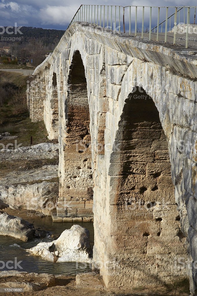 Pont Julien, roman bridge in the Provence stock photo