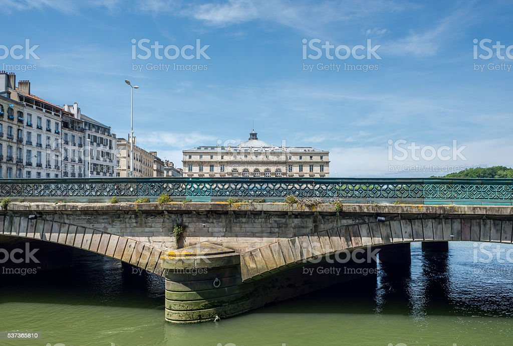 Pont Mayou bridge and Mairie de Bayonne in Aquitaine, France. stock photo