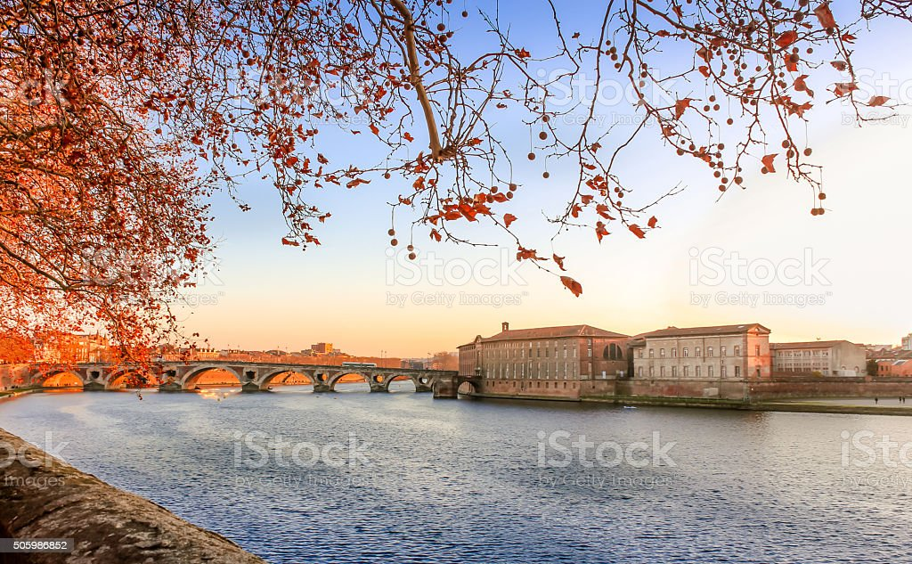 Pont Neuf acrossed Garonne River, Toulouse – France stock photo