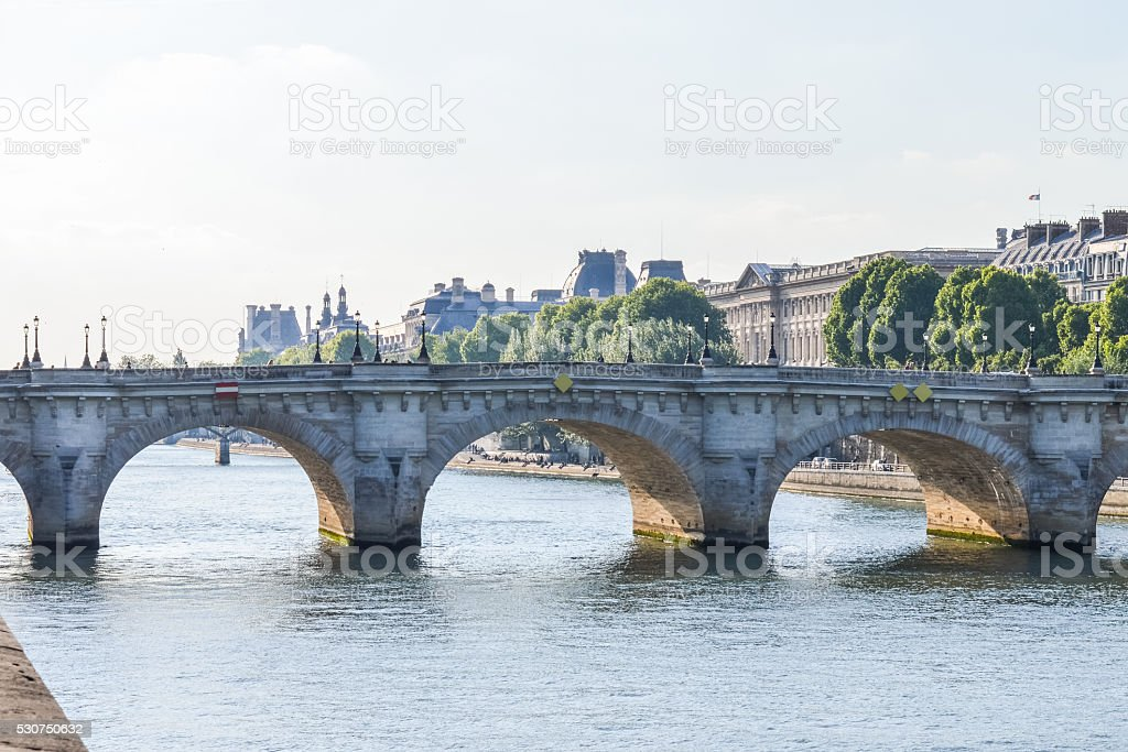 Pont Neuf and Seine river in Paris, France. stock photo