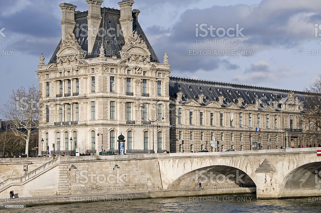 Pont Royal over Seine River and The Louvre in Paris stock photo