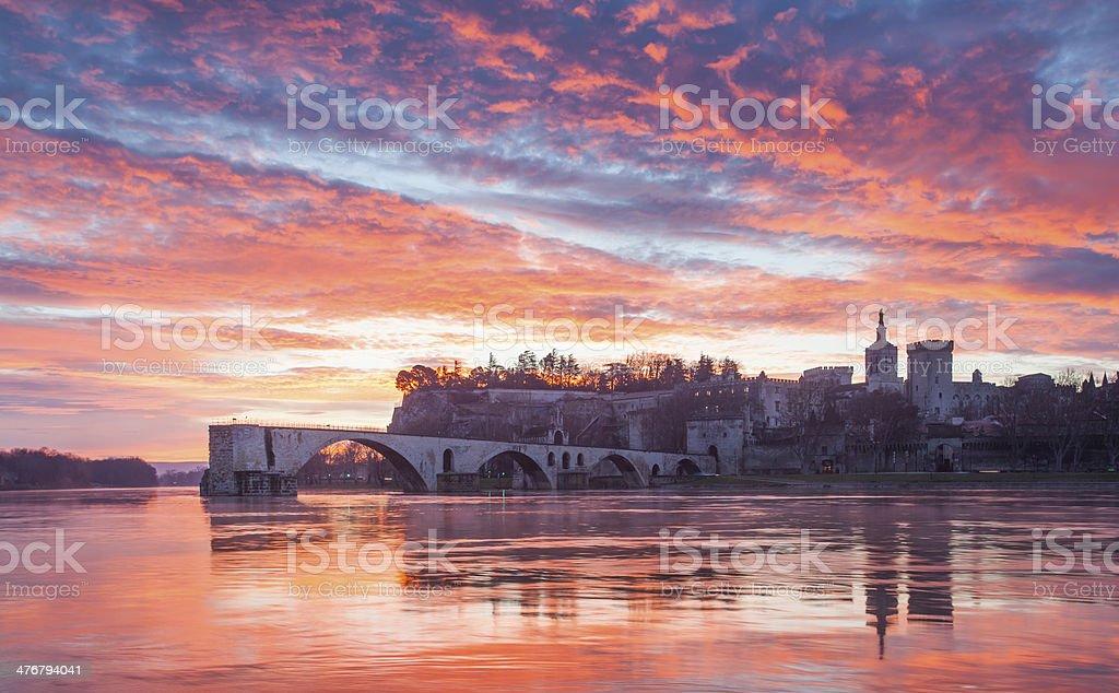 Pont Saint B?n?zet and Palais des Papes in the Avignon stock photo