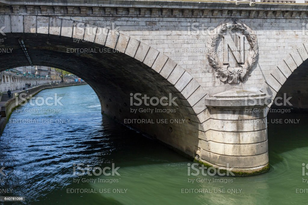 Pont Saint Michel bridge over the River Seine of Paris on a sunny day stock photo