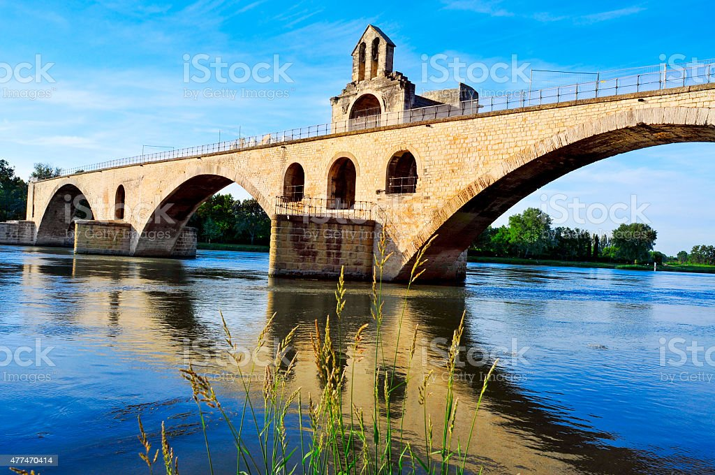Pont Saint-Benezet bridge in Avignon, France stock photo