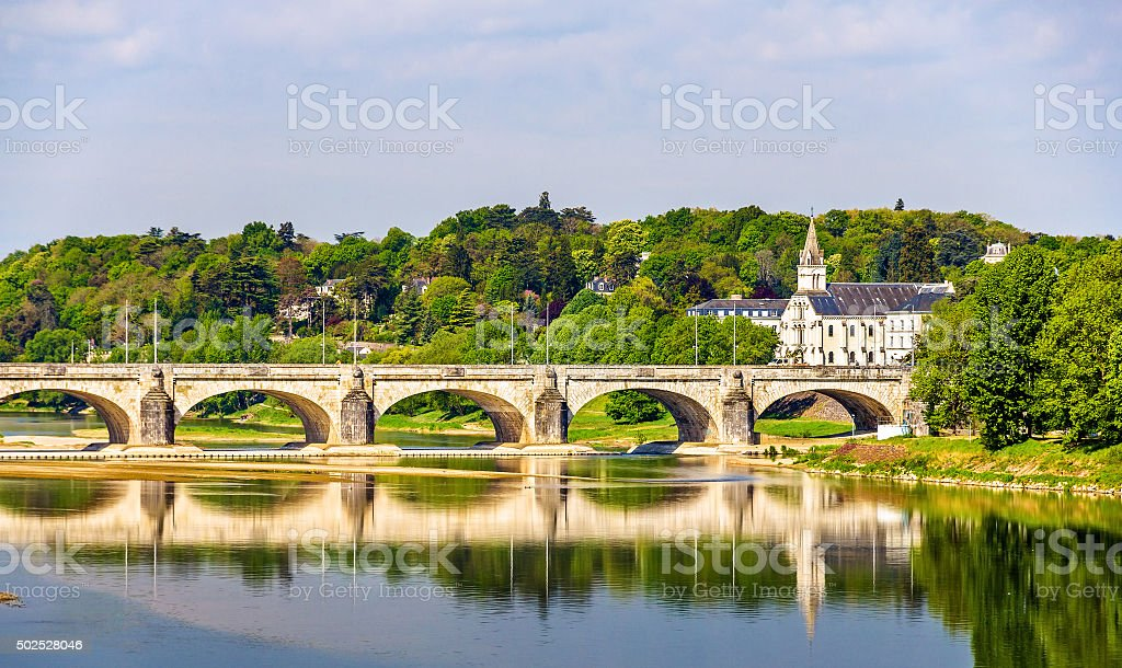 Pont Wilson on the Loire in Tours - France stock photo